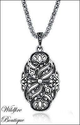 Vintage Antique Silver Marcasite Style Chain Necklace with Infinity Symbol Links