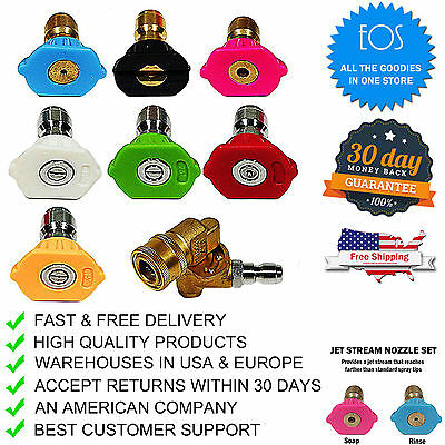 4000 PSI Power Pressure Washer Accessories Kit 7 Nozzle Tips Pivoting-Coupler