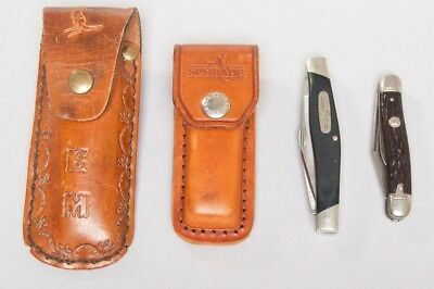 (4) VTG Folding Pocket Knives 2 Leather Cases Craftsman Buck Imperial & Schrade