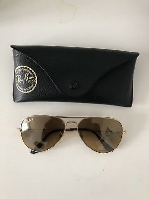 a6fe2623307 Ray Ban RB 3025 112 85 55mm Matte Gold Brown Gradient Lens Aviator  Sunglasses