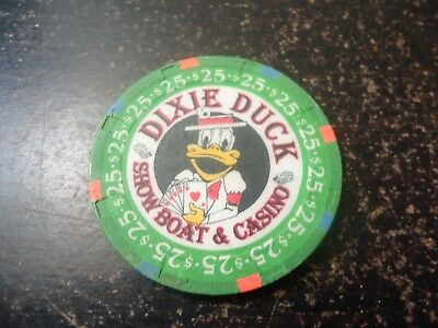 Vintage Paulsen Hat & Cane Dixie Duck Showboat & Casino $25 Chip