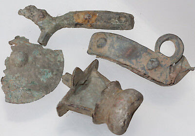 Nice Lot of 4 Unknown Large Roman Bronze Fragments Fittings