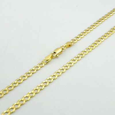 14K Yellow Gold 4mm Solid Curb Cuban Chain Link Necklace Lobster Clasp WOMEN 18""