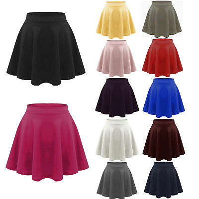 Kids Girls Children High Waisted Stretch Lippy Flared Short Skater Skirts 5-13