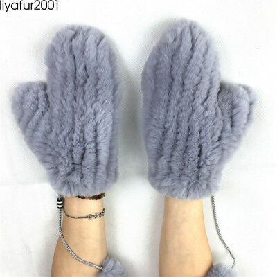 LIYAFUR Women Real Rex Rabbit Knitted Fur Mittens With Removed String Warm Glove