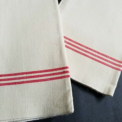 VTG French Cottage 2 Metis Linen Country Red Stripe Tea Towels Torchon  T5