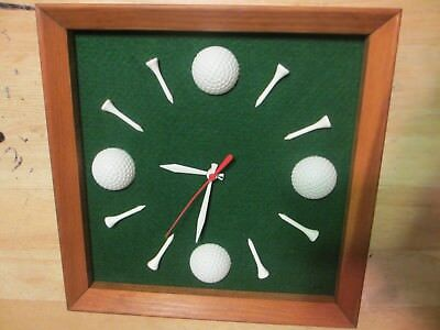 Hand Made Rare Wooden Frame Golf Balls Wall Clock with Quartz Watch - Used