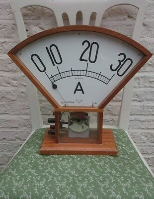 1950s White Electrical Instrument Co. Ltd.  Amp Meter Display Used In School Les