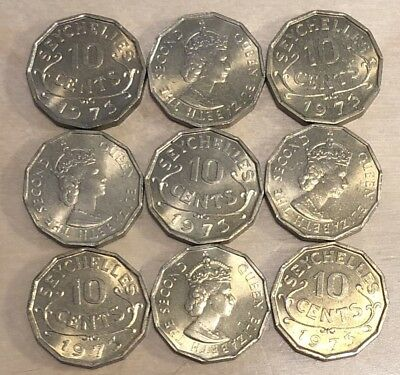 Seychelles 1973 10 Cents; KM-10; UNC; Lot of 9 (lot 44)