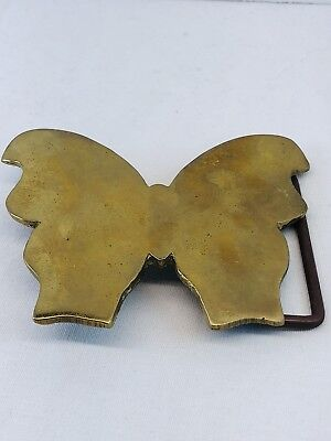 Vintage Shiny Mirrored Solid Brass Butterfly Western Belt Buckle 1970s 1980s