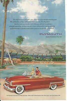 Vintage Magazine Car Ad (cut) - 1950's Plymouth Convertible (illustrated).