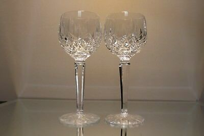 Lovely Pair (2) Irish Waterford Crystal Lismore 8 0Z Hock Wine Goblets 7 1/2""