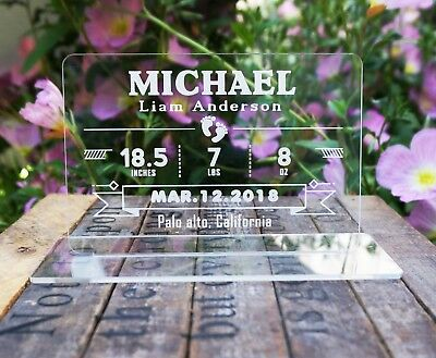 Clear Acrylic Custom Personalized Baby Birth Announcement Plaque Birth Stats
