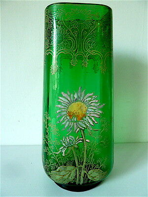 VASE OVAL GLASS ENAMELLED decor flowers Daisies LEGRAS NEW ART CIRCA 1900