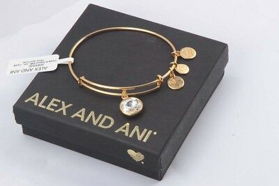 New Alex And Ani APRIL Birthstone Crystal Bracelet Yellow Gold Finish