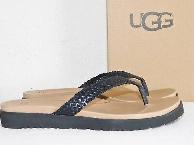 378a73121a0 New Nib Womens Size 10 Black Ugg Lorrie Leather Sandals Flip Flops Thongs