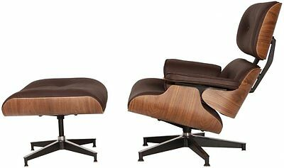 Plywood Lounge Chair & Ottoman Reproduction Genuine Leather Brown Walnut