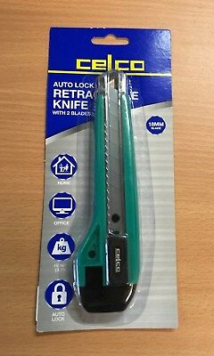 Celco Heavy Duty Auto Lock Retractable 18mm Knife with 2 Blades  *0176821* Green