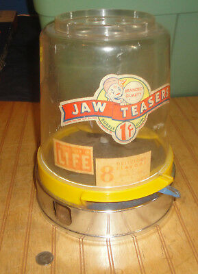 Jaw Teasers Jaw Breaker Vintage Candy Gumball Machine Display 1950's