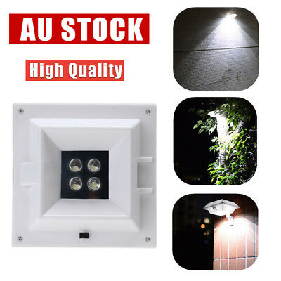 4LED Solar Square Power Light Garden Yard Gutter Fence Wall Pathway Outdoor Lamp