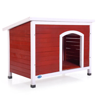 Wood Dog House Home Outdoor Ground Pet Shelter Large  Kennel Weather Resistant