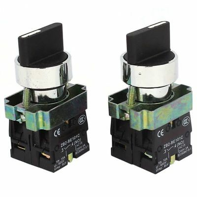 2 Pcs 2NO DPST 3 Positions Maintained Rotary Selector Switch 600V 10A N9D4
