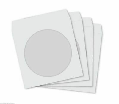 300 WHITE Paper Sleeve + Clear Window CD DVD BD-R BDR Covers protector 120gsm