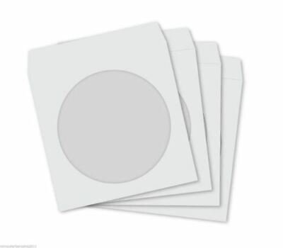 300 WHITE Paper Sleeves + Clear Window CD DVD BD-R BDR Covers protector 120gsm