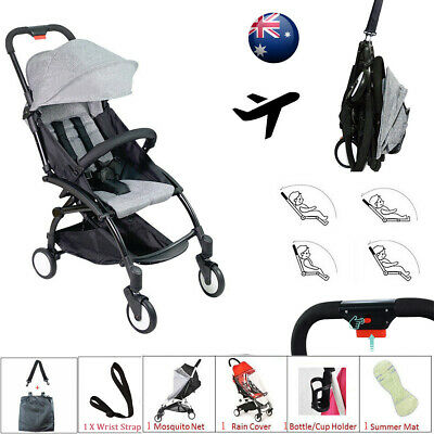 Grey Compact Lightweight Baby Stroller Pram Easy Fold Travel Carry on Plane 2019