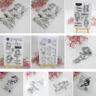 Transparent Clear Silicone Rubber Stamp Sheet Cling Scrapbooking Cards DIY Decor