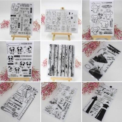 Transparent Silicone Clear Rubber Stamp Sheet Cling Scrapbook Card DIY Decor