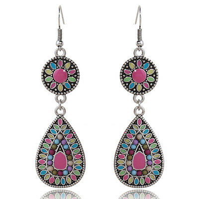 Fashion Vintage Enamel Colorful Drop Dangle Earrings Costume Jewelry Gifts