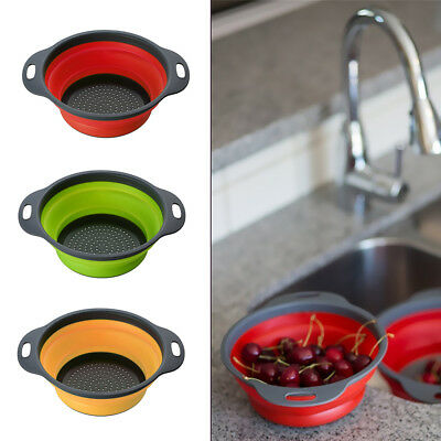 Silicone Collapsible Colander Food Fruit Vegetable Draining Strainer Handle Tool