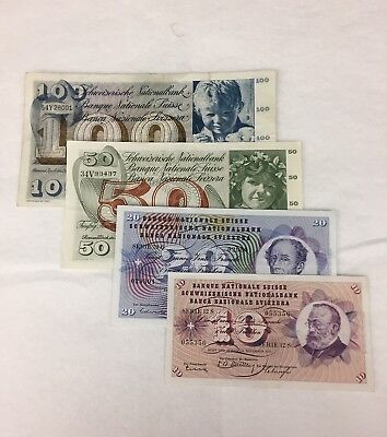 Switzerland Currency Lot / 10, 20, 50,100, Swiss Francs (4 notes)