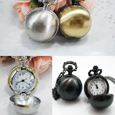 Vintage Antique Smooth Round Ball Glass Quartz Small Pocket Watch Chain Necklace