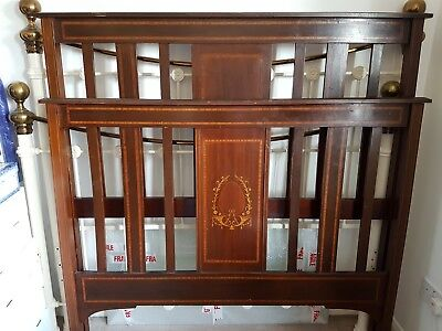 "ANTIQUE EDWARDIAN DOUBLE BED 4ft 6"" INLAID ON CASTORS WITH BASE"