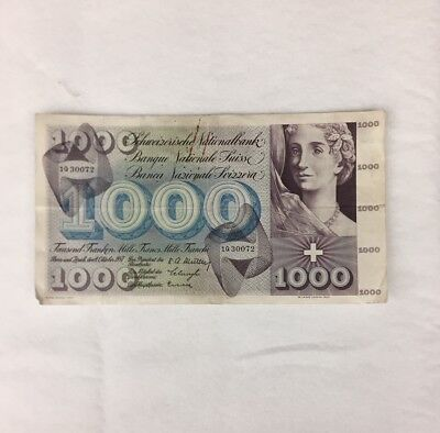 Switzerland Currency 1000 Swiss Francs (1 note)