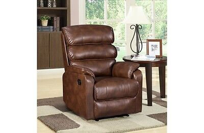 Birlea Regency Recliner Chair - Bronze Brown Faux Leather - Free Delivery