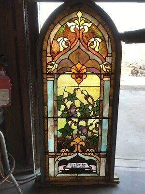 Ark 1 antique arch top stained glass window 24.5 x 57