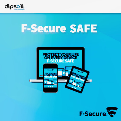 F-Secure SAFE 3 dispositivi 3 PC 2019 Internet Security 1 Anno 2018 IT EU