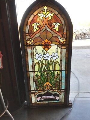 A Rk To Antique Arch Top Stained Glass Window Lilies 24.5 X 57