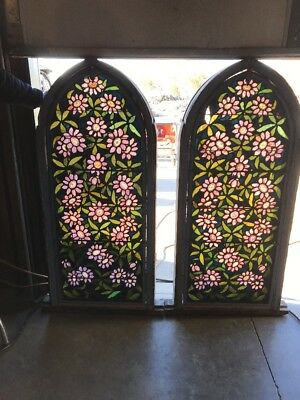 Ark 5 Antique 2 A price Ea Floral Arch Top Painted And Fired Window 22.25 X 51