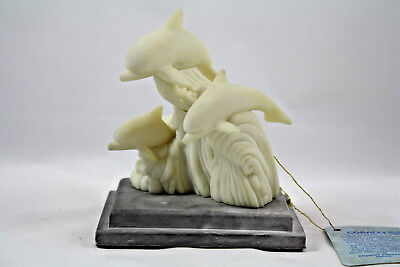 Coralei Cultured Coral Dolphins Riding a Wave Sculpture