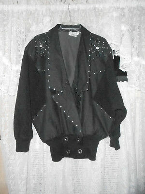 Ib Sport Black Denim Jacket (100% Cotton) W/silver Studs Sz Sm Great Condition