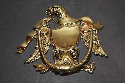 (AA-10340) EAGLE/RIBBON DOOR KNOCKER, Cast Brass, Polished, Lacquered, NOS