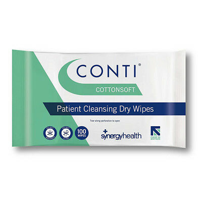 3 x Conti Cotton Soft Dry Patient Wipes - Large (32 x 30cm) - 300 Wipes Synergy