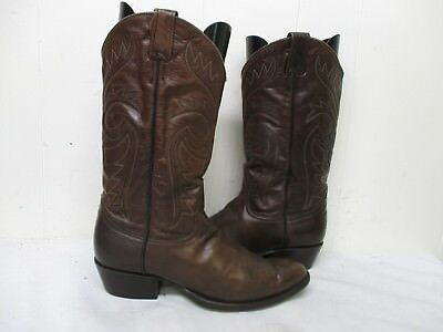 d378b826c0b LARRY MAHAN BROWN Leather Cowboy Boots Mens Size 10.5 D Style LMM9036 USA