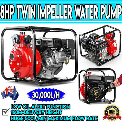 New 8HP Twin Impeller Water Pump Heavy Duty Garden 4-Stroke High Pressure