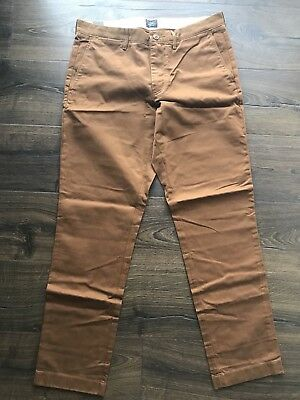 J.CREW NWT Mens Straight Fit 770 Broken In Chino Pants Size 32 Brown FREE SHIPPI