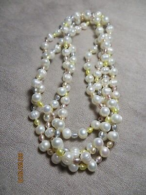 vintage Real Freshwater Potato Multi-colored Pearls Long Flap  Necklace 63""